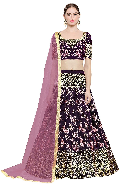 KEDARFAB Women's Taffeta Silk Embroidered Lehenga Choli with Blouse Piece (Pink,Free Size)