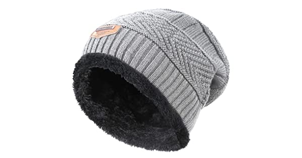 HindaWi Winter Hat For Boys Girls Kids (5-14 Years) Slouchy Beanie  Windproof Warm Knit Snow Skull Cap Grey bf77f183be5b