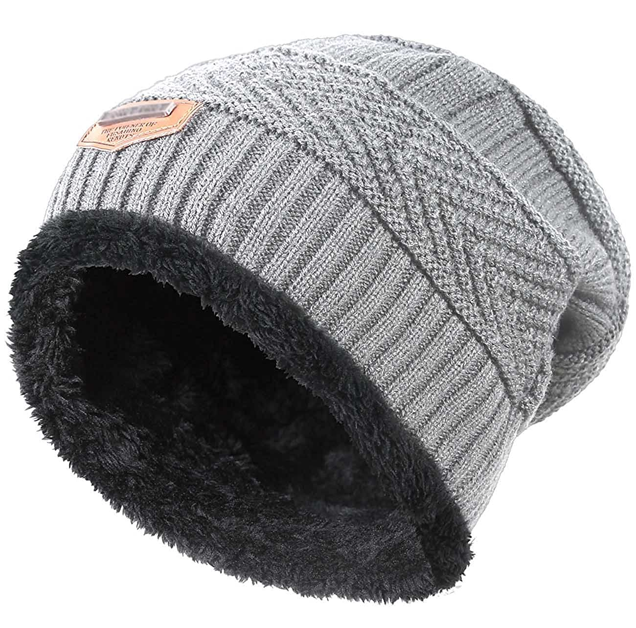 b939df20079 Amazon.com  Winter Hat for Boys Girls Kids (5-14 Years) Slouchy Beanie  Windproof Warm Knit Snow HINDAWI Skull Cap Grey  Clothing
