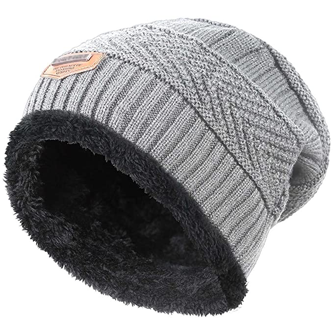 164f29ec5f3 Amazon.com  Winter Hat for Boys Girls Kids (5-14 Years) Slouchy Beanie  Windproof Warm Knit Snow HINDAWI Skull Cap Grey  Clothing