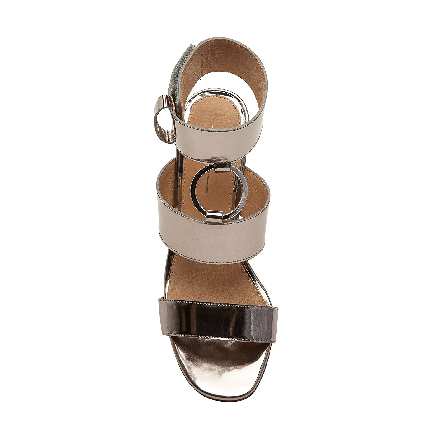 Linea Paolo EVA | Women's Metal Ring Adorned Cuffed Comfortable Wedge Sandal B07957539W 9 M US|Silver Leather