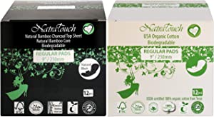 NATRATOUCH Regular PAD ~ COMPOSTABLE ~ Texas Organic Cotton & Natural Bamboo Charcoal Sanitary Regular Flow Pads (12 Cotton Pads and 12 Bamboo Pads)