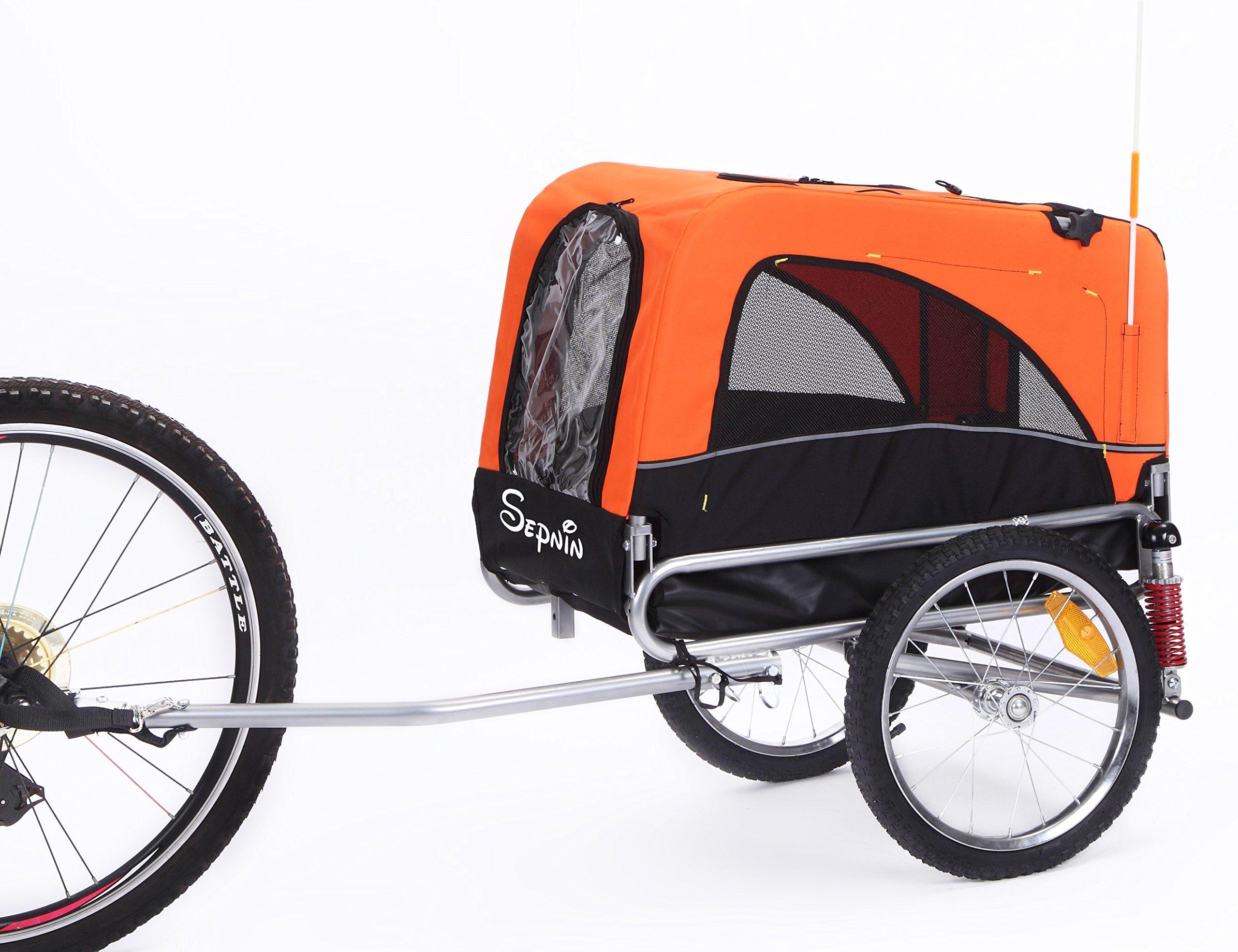 Sepnine 2 in 1 Small Sized Bike Trailer Bicycle Pet Trailer/ Dog Cage 10308S (Orange/ Black)