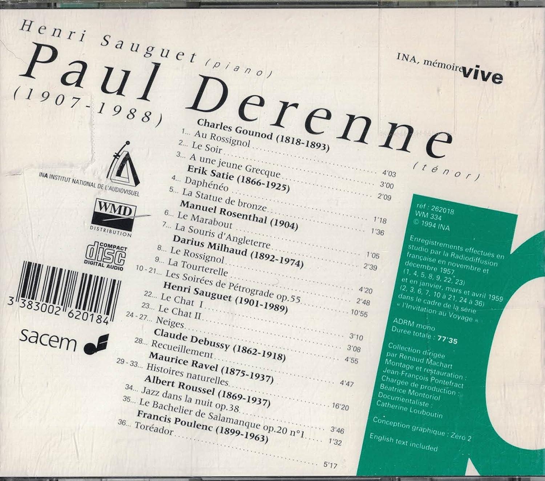 Debussy, Gounod, Satie, Poulenc, Milhaud, Rosenthal, Roussel, Paul Derenne - Paul Derenne: Ina, Memoire Vive - Amazon.com Music