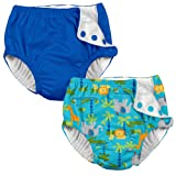 i play. 2 Pack Boys Reusable Toddler Swim Diapers Aqua Jungle and Royal Blue 4T
