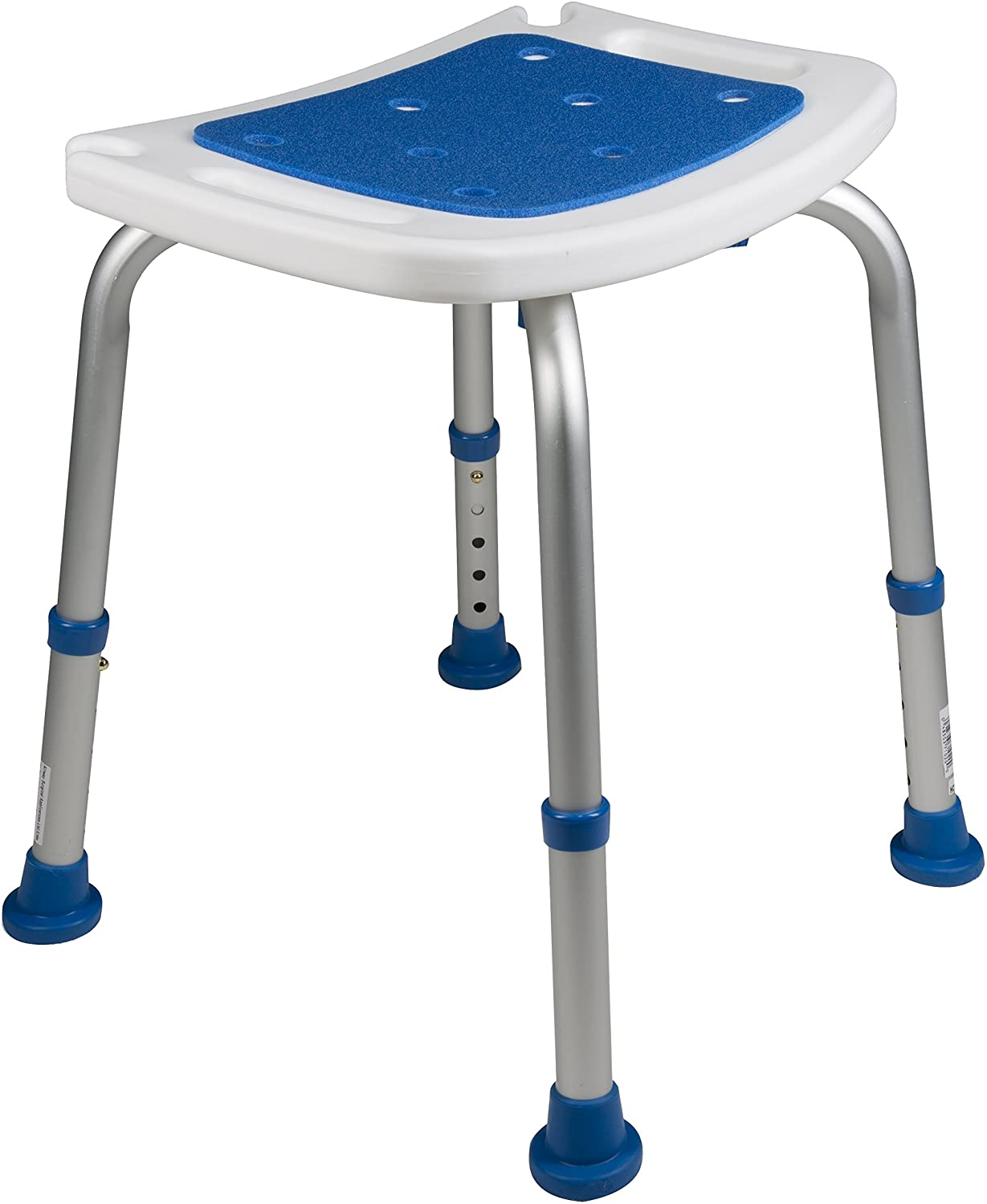 Pcp Bath Bench Shower Chair Safety Seat, Adjustable Height, Stability Grip Traction, Medical Grade Senior Living Spa Aid, Mobility Recovery Support, White/Blue: Health & Personal Care