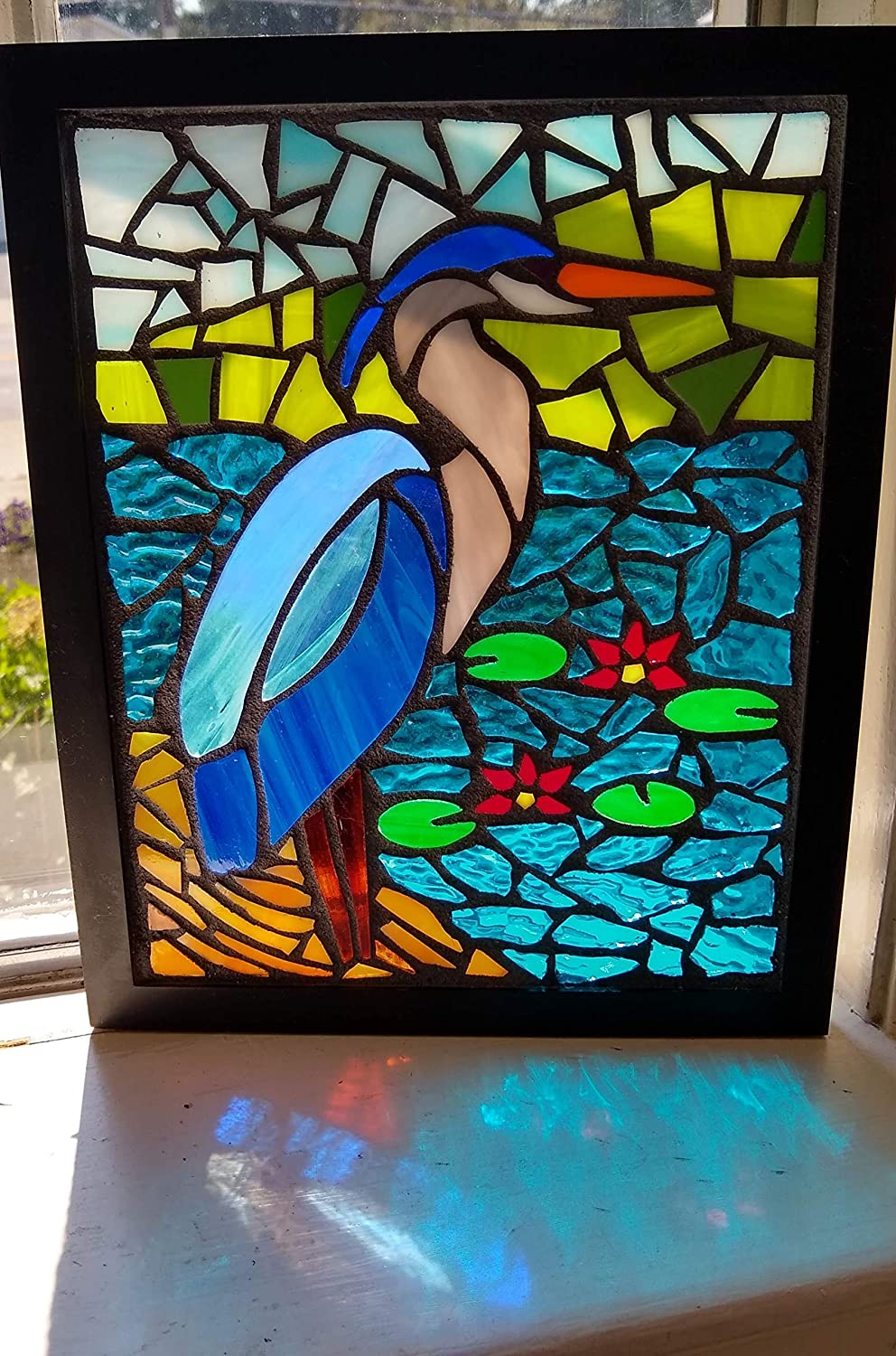 Great Blue Heron Stained Glass Mosaic Art Panel in Frame 8 x 10