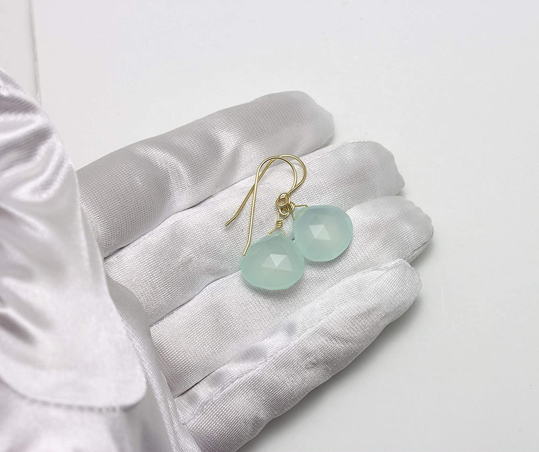 Chalcedony Earrings Soft Aqua Blue Faceted Heart Teardrops Simple Dangles