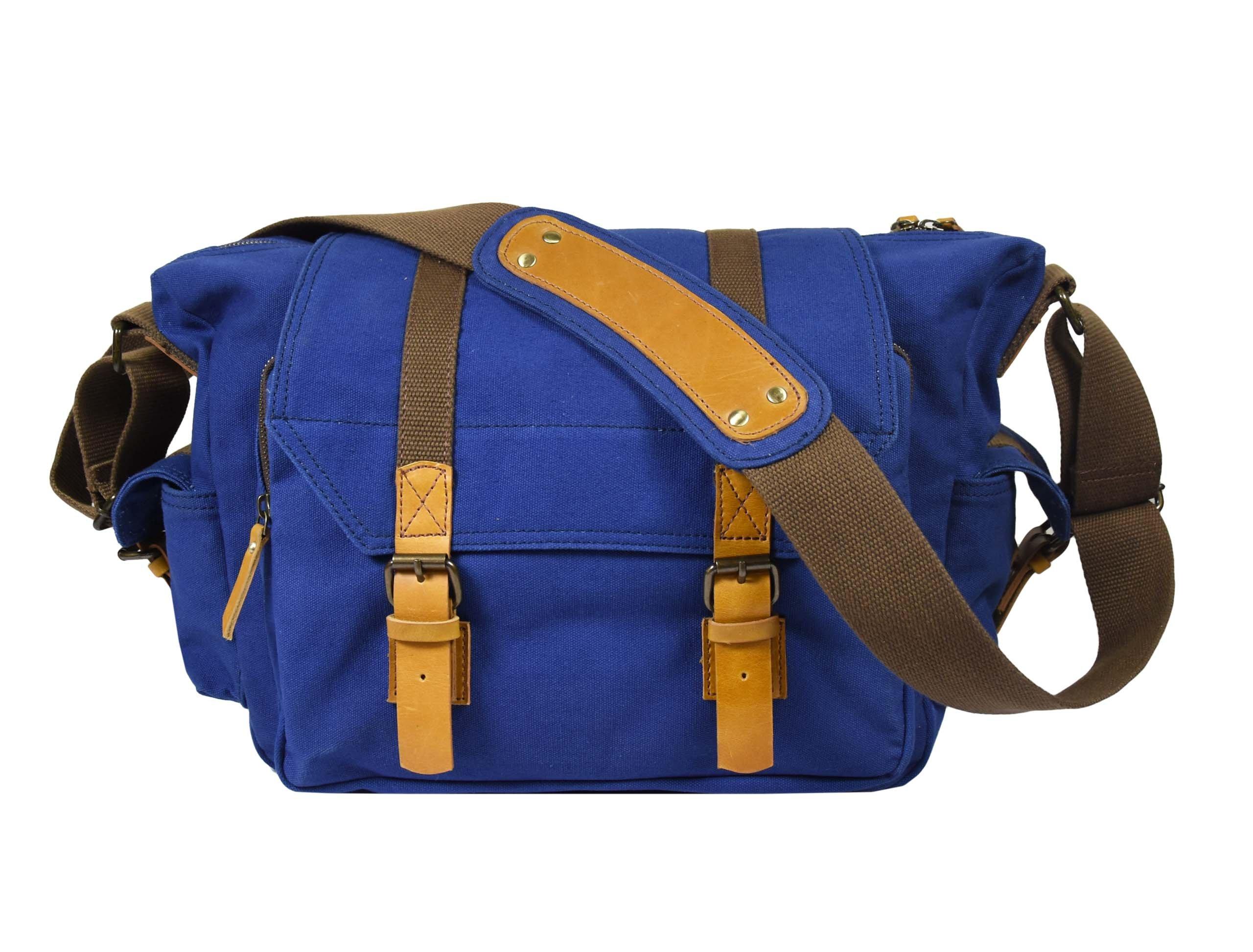 13'' High Density Cotton Canvas Camera Bag | Removable Modular Shock/Vibration Absorbing Insert | Vintage D/SLR Messenger Shoulder Bag By Aaron Leather
