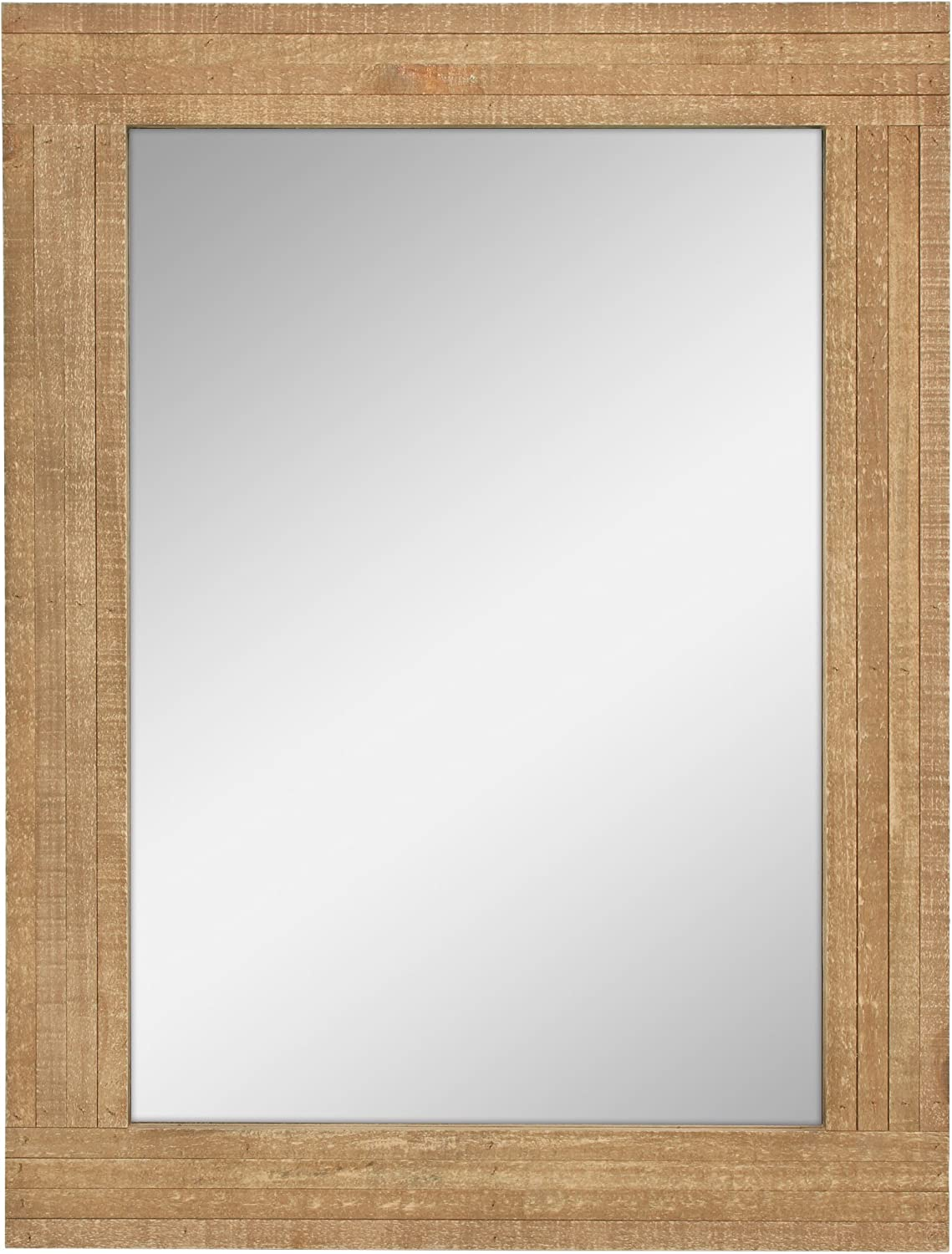 Stonebriar Rustic Rectangular Natural Wood Frame Hanging Wall Mirror, Farmhouse Decor for the Living Room, Bedroom, Bathroom, Office, and Entryway