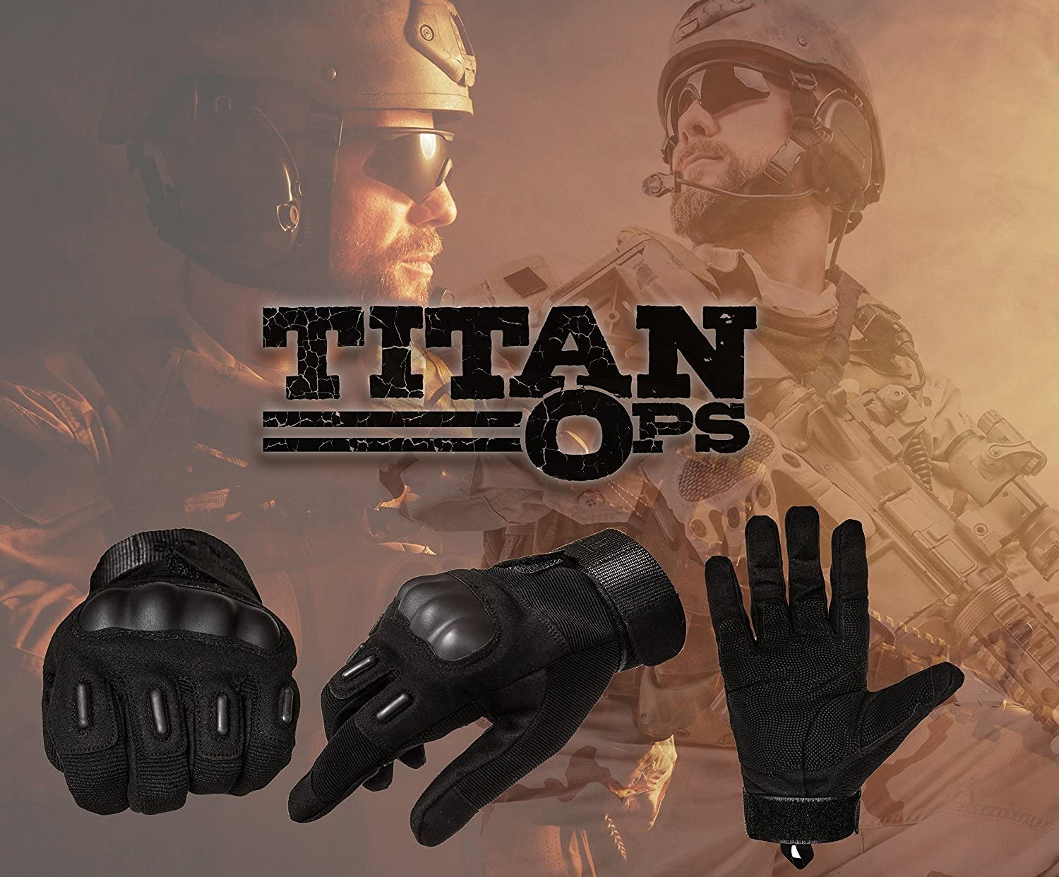 TitanOPS Full Finger Hard Knuckle Motorcycle Military Tactical Combat Training Army Shooting Outdoor Gloves