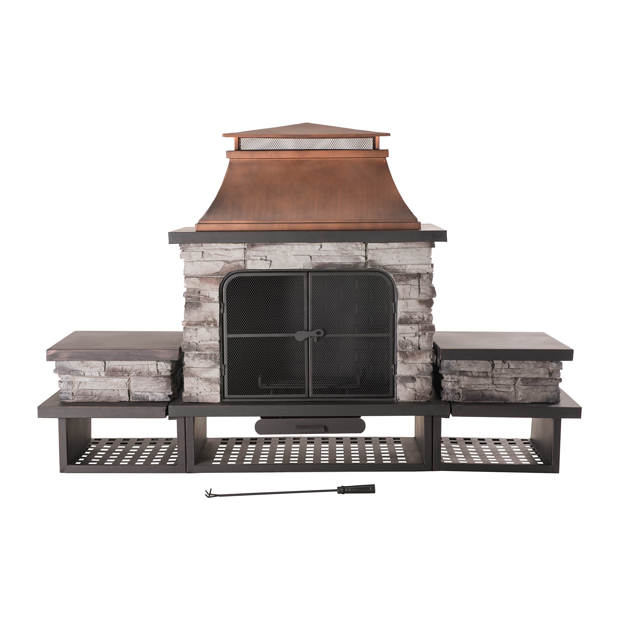Sunjoy Bel Aire Fireplace large with two table-flats by Sunjoy