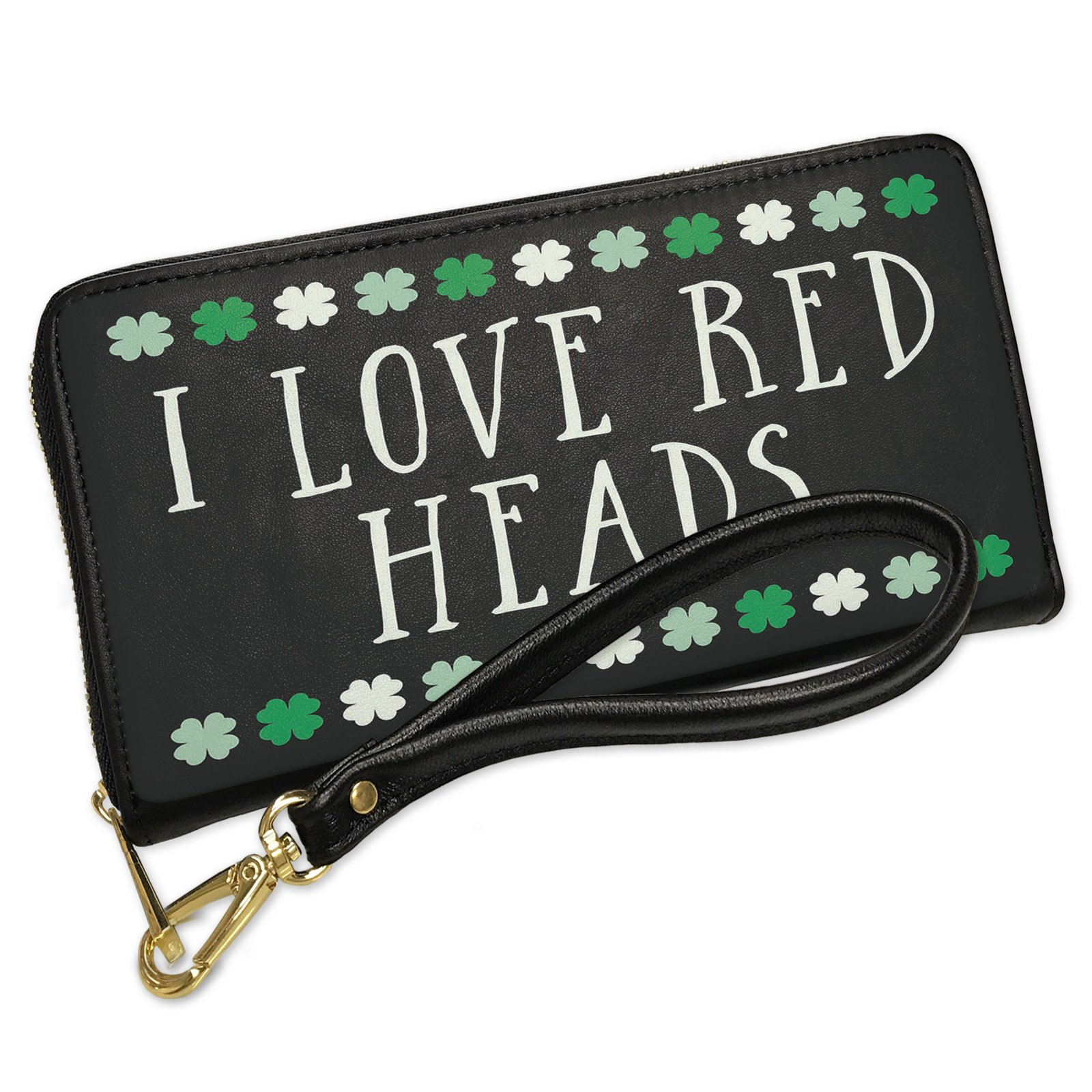 Wallet Clutch I Love Red Heads St. Patrick's Day Cute Shamrocks with Removable Wristlet Strap Neonblond