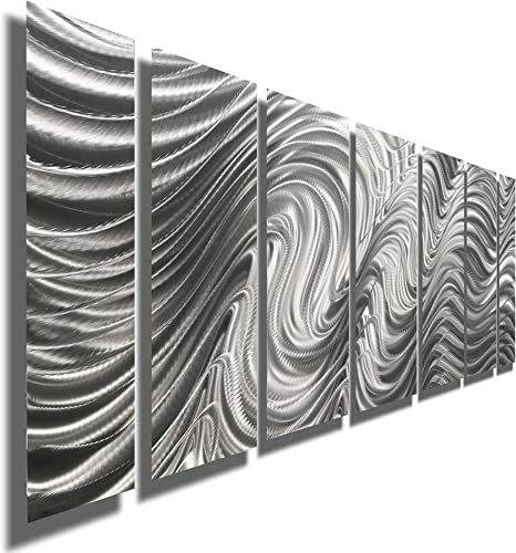 Statements2000 Modern Metal Wall Art, 68 x 24 , Indoor Outdoor Hanging Sculpture by Jon Allen, Silver