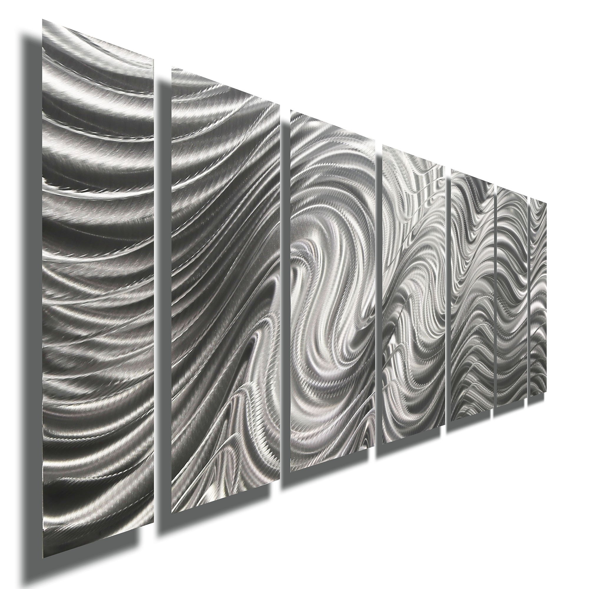 Silver Contemporary Metal Wall Art Sculpture - Multi Panel Metal Decor by Jon Allen - Hypnotic Sands