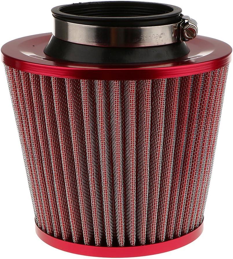 non-brand Filtro de Aire para Coche Kit de Admisi/ón de Aire Fr/ío Universal C/ónico Redondo Rojo 3 Pulgadas