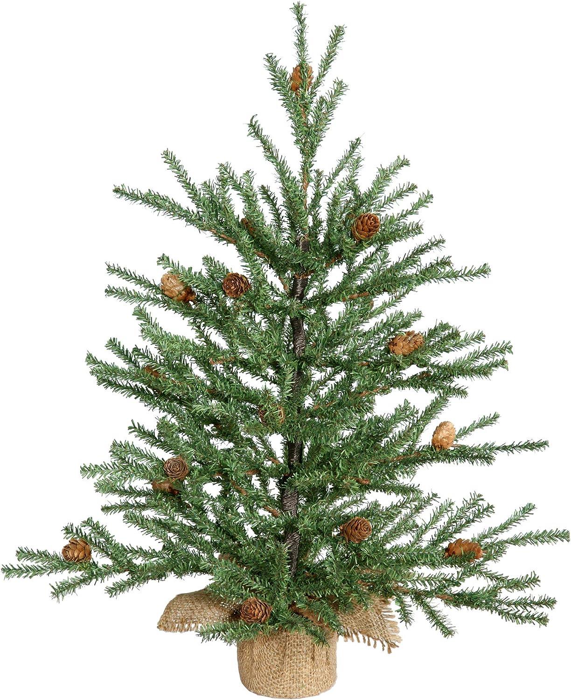 "Vickerman Carmel Pine Tree with Pine Cones & 294 PVC Tips In Burlap Base, 18"""