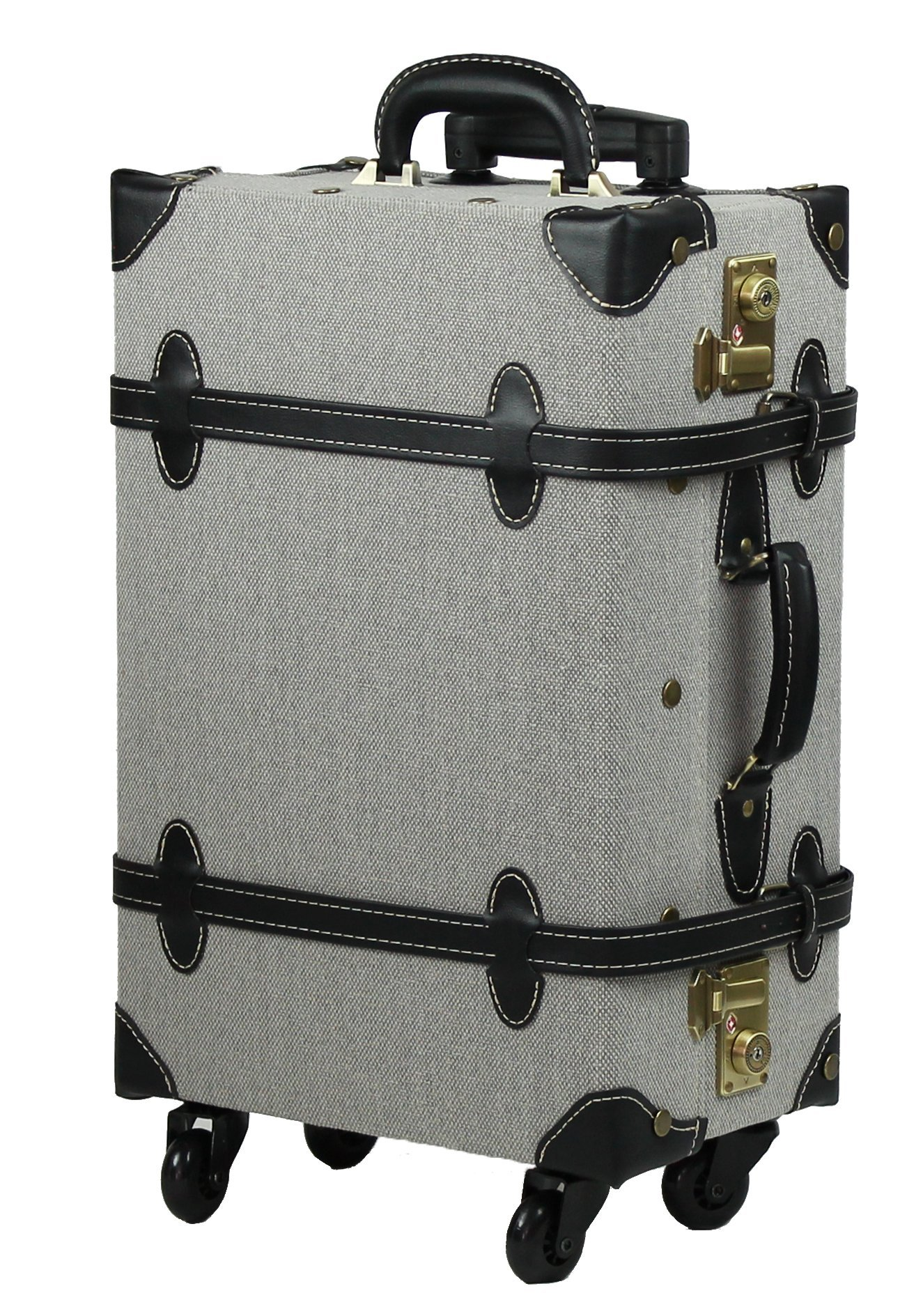 MOIERG Vintage Trolley Luggage suitcase 2tone Cotton Gray Medium (81-55046-12)