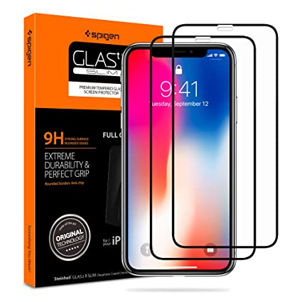 buy popular 21499 13d24 Spigen Tempered Glass iPhone Xs/X Screen Protector [ Maximum Protection ] [  Case Friendly ] for Apple iPhone Xs/iPhone X (5.8 inch) (2 Pack)