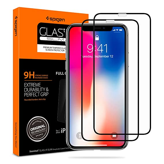 san francisco ac810 116ea Spigen Tempered Glass Screen Protector Designed for iPhone Xs (2018) /  iPhone X (2017) [2 Pack] - Maximum Protection