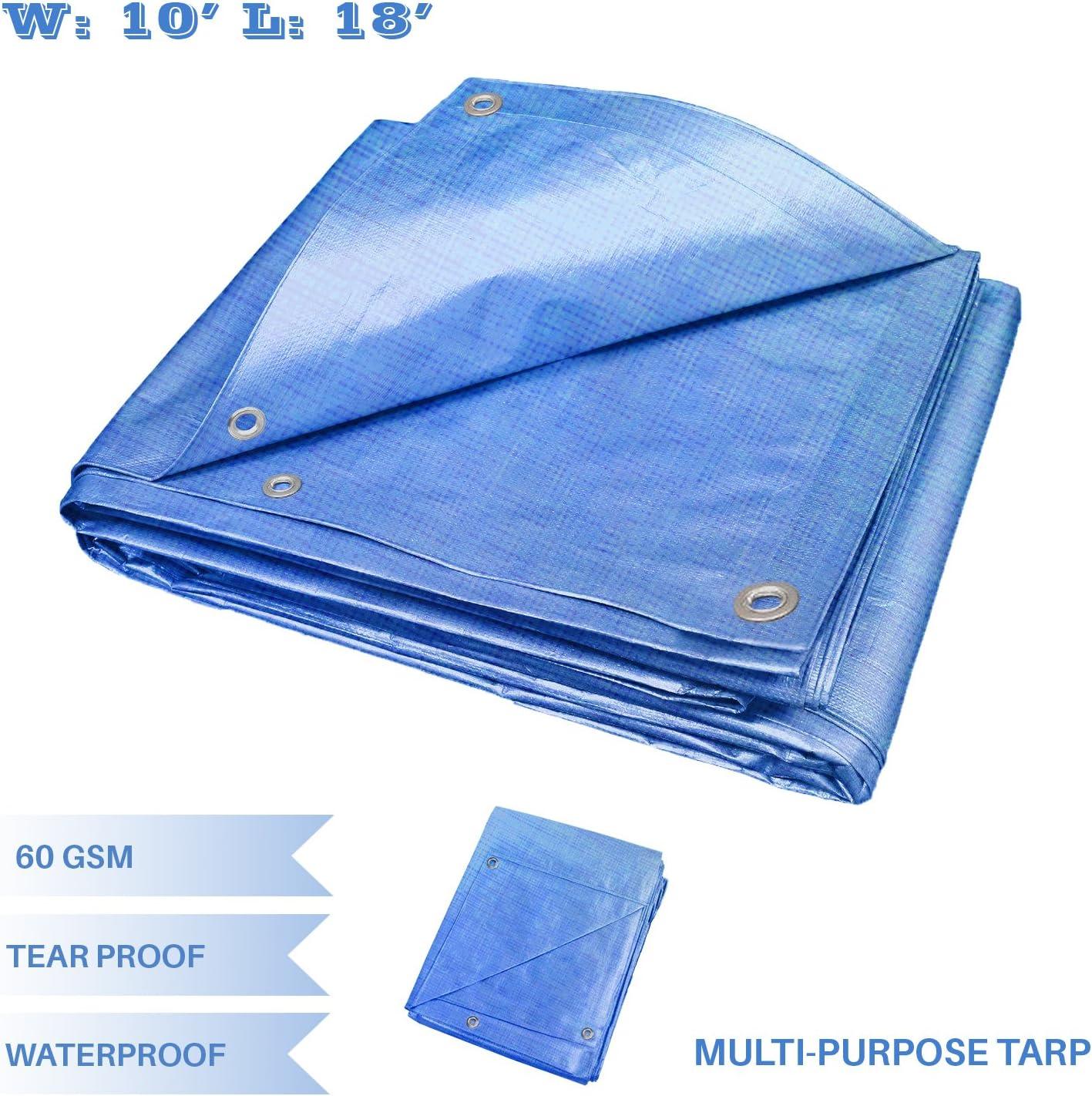 Blue E/&K Sunrise 10 x 18 Finished Size General Multi-Purpose Tarpaulin 5-mil Poly Tarp