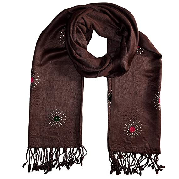 7b671f39a7955 PSS Branded Premium Quality Handcrafted Designer Brown Color - Stole Scarf  Soft Cotton Trendy Scarves, Stoles Scarf for Women and Girls: Amazon.in:  Clothing ...