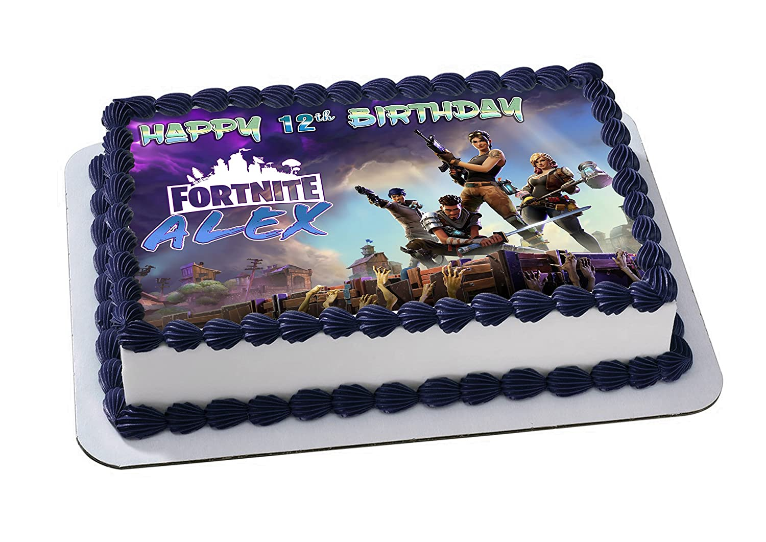 Amazon Battle Royale Edible Image Cake Topper Personalized Birthday 1 4 Sheet Decoration Custom Party Sugar Frosting Transfer Fondant
