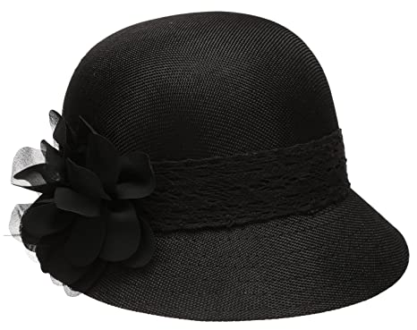Epoch Women s Gatsby Linen Cloche Hat With Lace Band and Flower - Black 7b83cd3712f