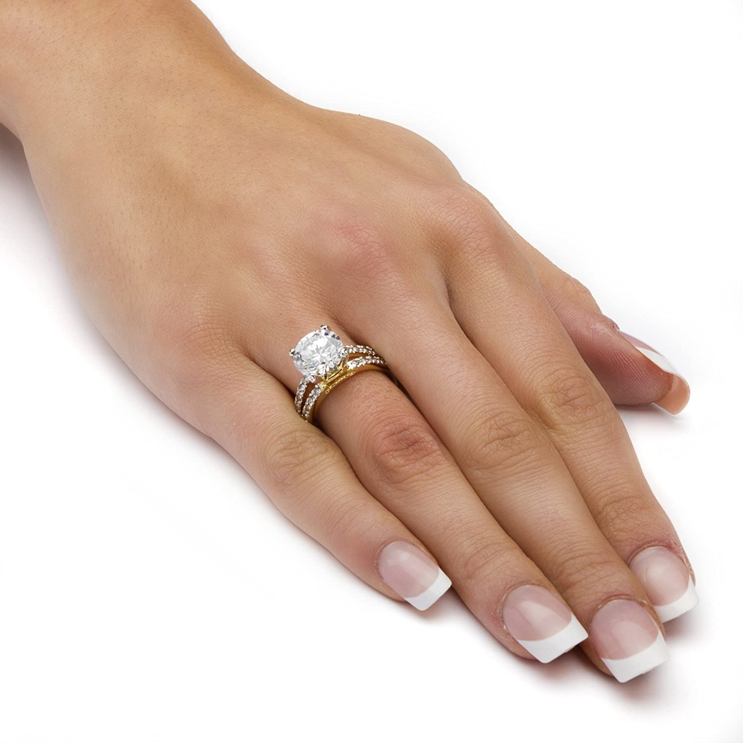 14K Yellow Gold Plated Round Cubic Zirconia Split Shank Engagement Ring