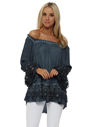 0e5ea2daadd Pinka Navy Blue Silver Floral Lace Bardot Swing Top One Size Blue  Amazon.co .uk  Clothing