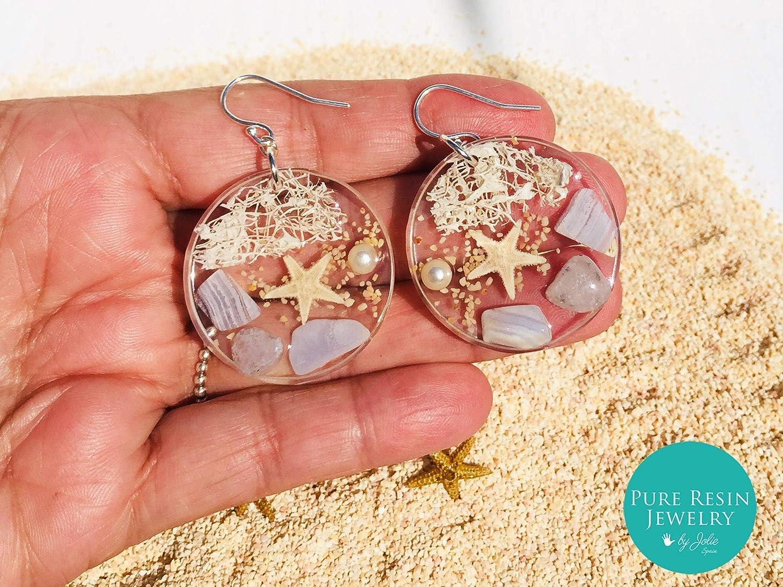 Indra - Aros de escena de playa natural, pendientes de cristal Boho Chic, piedras preciosas de aguamarina, Piedra de nacimiento de marzo, Plata de ley 925, regalo de joyería de playa - ER56