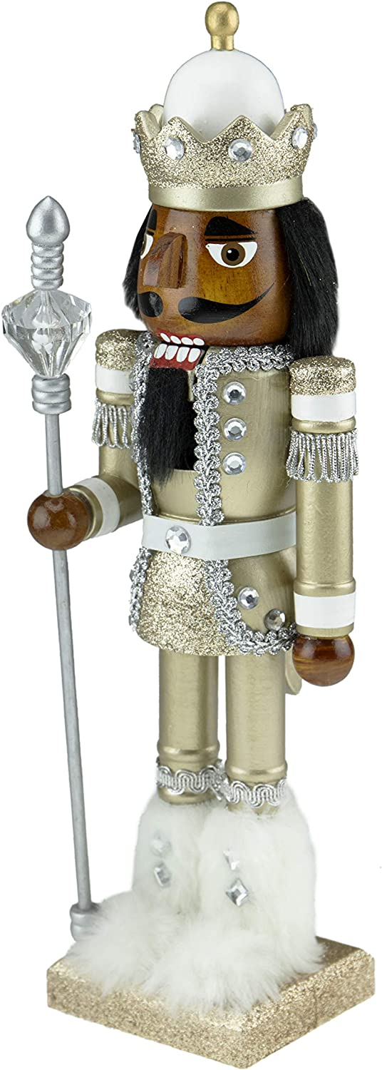 "Clever Creations Traditional Wooden Collectible African American Soldier Nutcracker | Festive Christmas Decor | 14"" Tall Perfect for Shelves and Tables"
