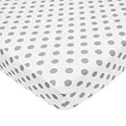 American Baby Company 100% Natural Cotton Percale Fitted Crib Sheet for Standard Crib and Toddler Mattresses, White with Gray Dots, Soft Breathable, for Boys and Girls