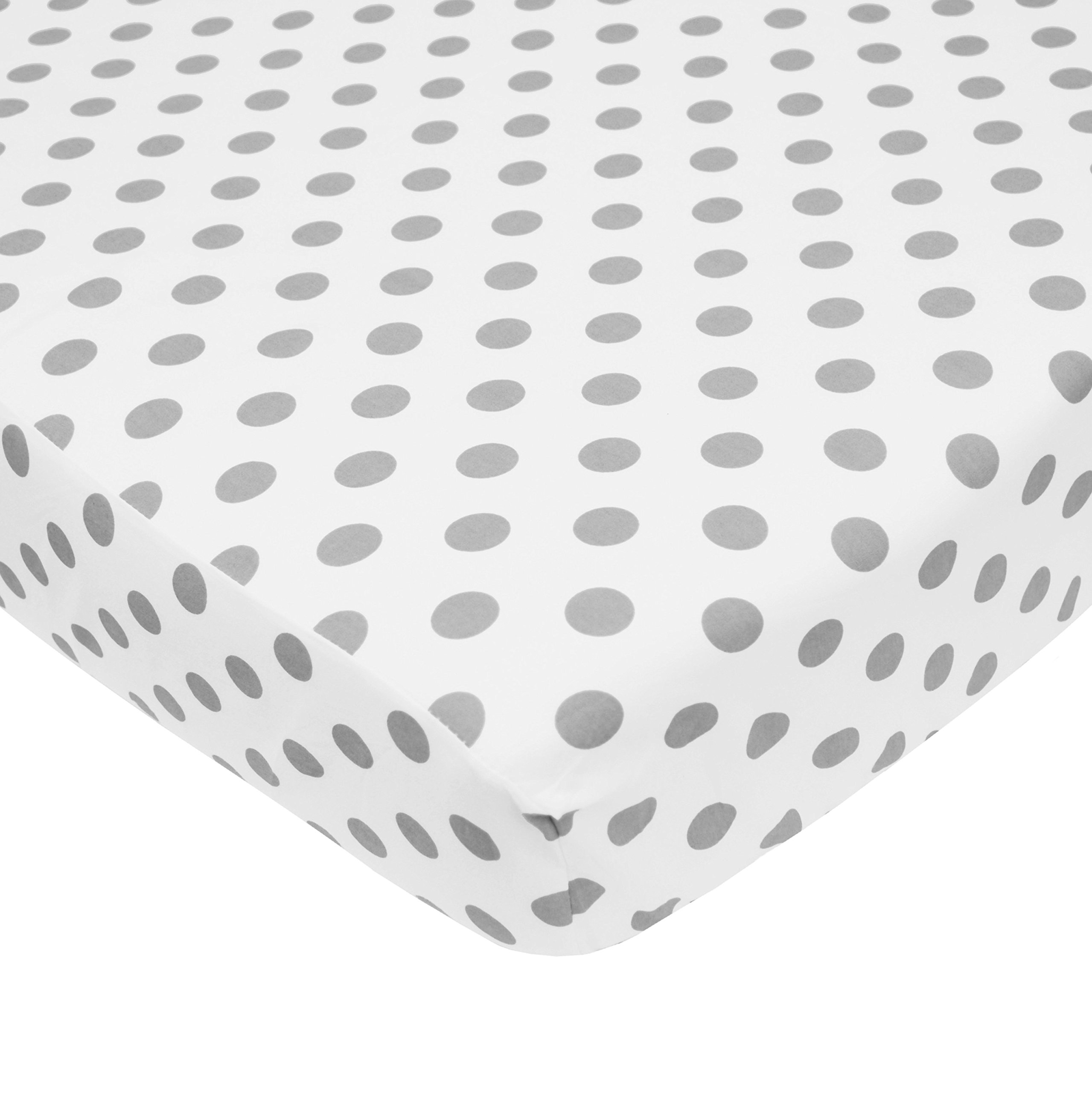 American Baby Company 100% Cotton Percale Fitted Crib Sheet for Standard Crib and Toddler Mattresses, White with Gray Dots