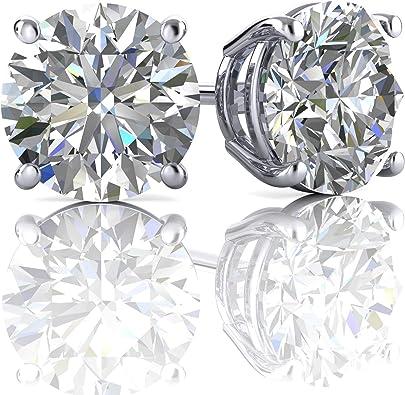 6 mm 1.5ct Moissanite Diamond Earrings Pierced Screw Backs 14k Yellow Gold Over