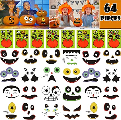 OuMuaMua 64 Packs Halloween Pumpkin Decorating Stickers - 16 Sheet Pumpkin  Face Stickers in 32 Designs for Halloween Party Supplies Trick or Treat ...