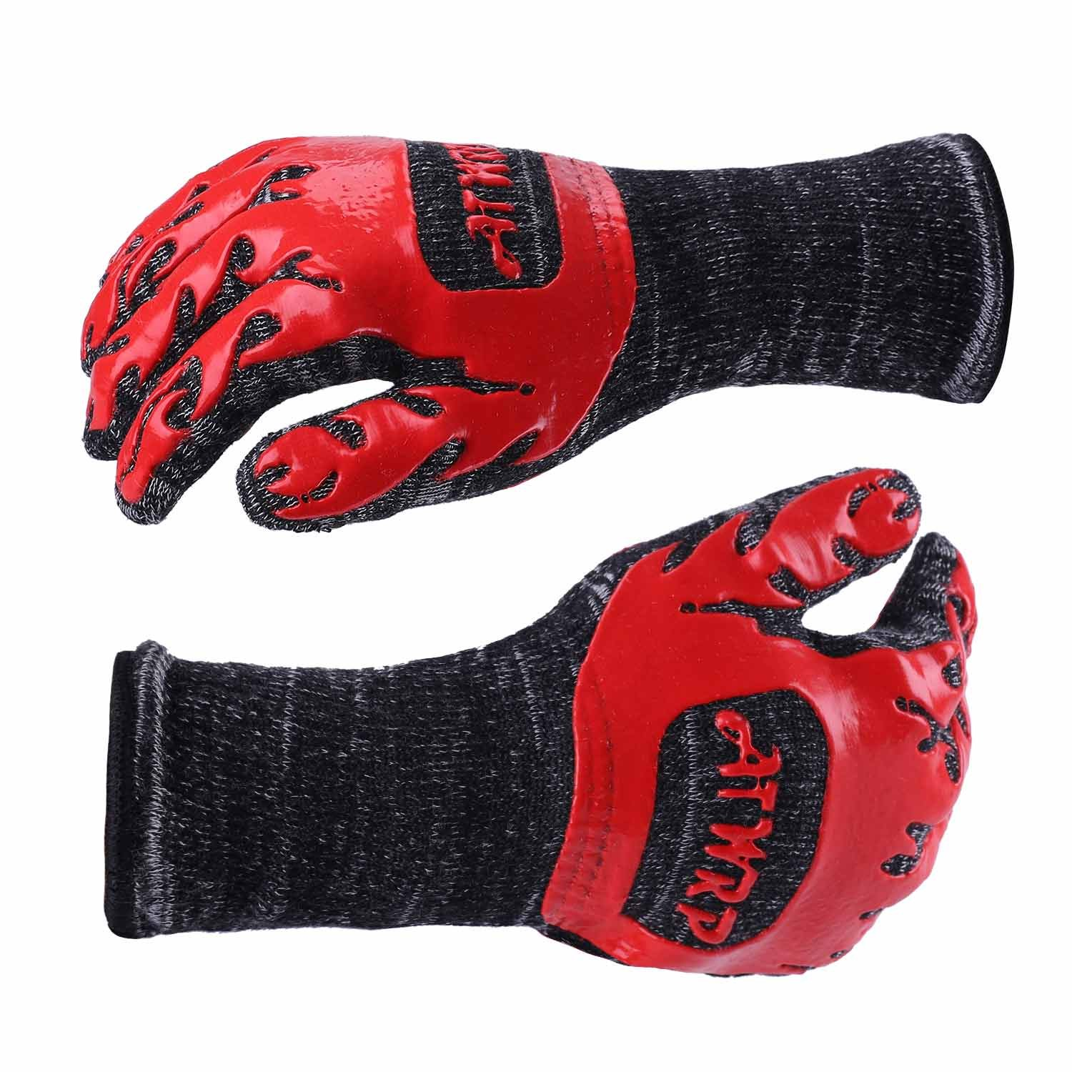 ATWRP FIREPROOF 932°F Extreme Heat Resistant BBQ Gloves by for Cooking Grilling Barbecue Charcoal Grill Smoker Tools Hot Ovens with Fingers Double Layered by ATWRP (Image #3)