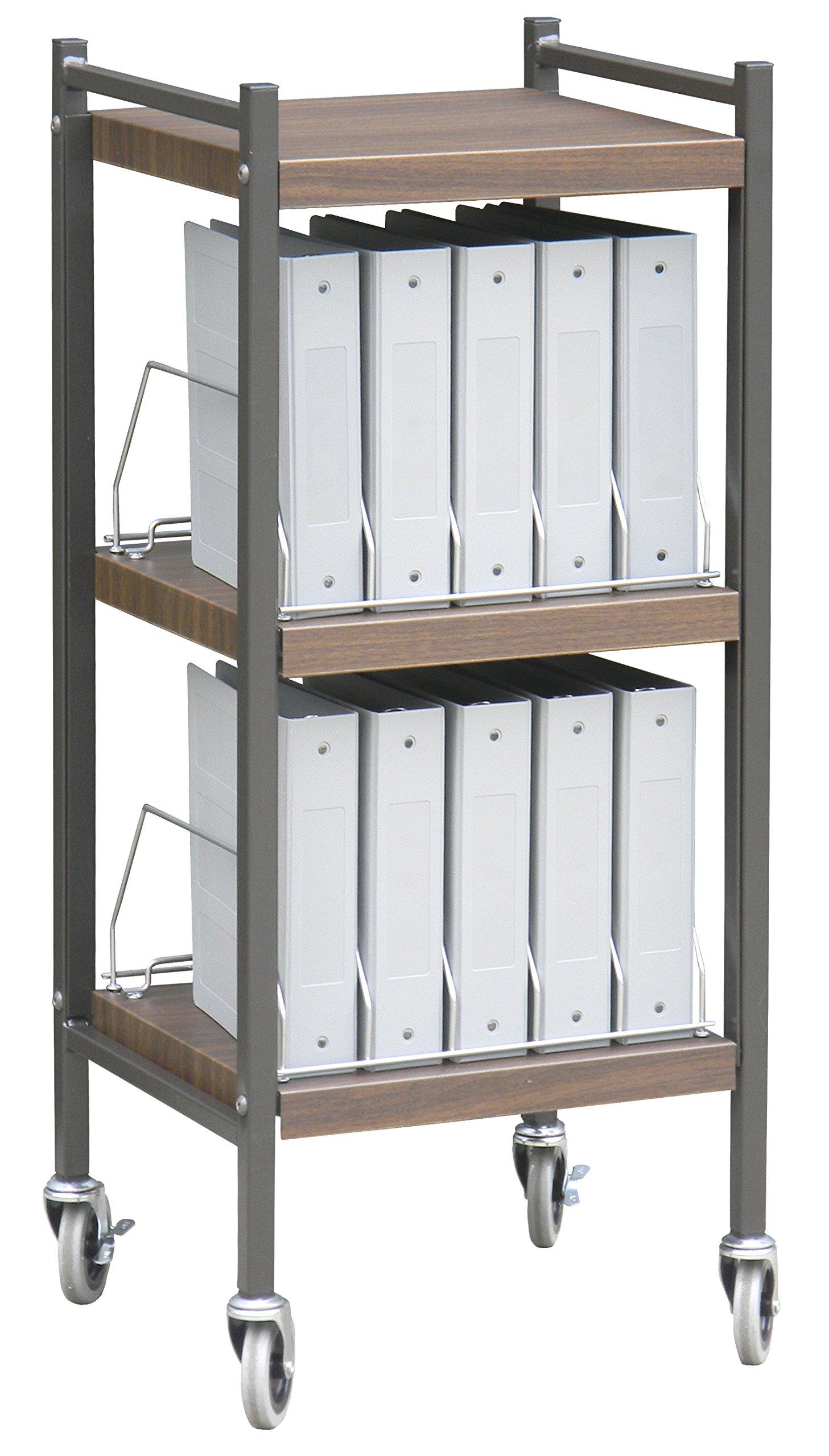 Mini Open Chart Rack 3 Shelves 10 Binder Capacity (Woodgrain)