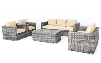 Mixed Color Outdoor Patio Sofa Sectional Wicker Furniture 5pc Couch Set Sunbrella