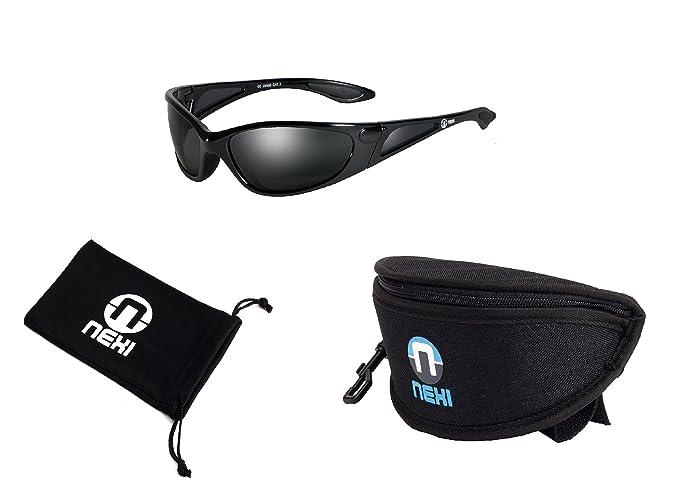 Nexi Sportbrille Sonnenbrille - mit Polarisation - ideal zum Autofahren - leicht und sportlich - inklusive Etui und Mikrofasertuch S-23A-P, Schw/Grau