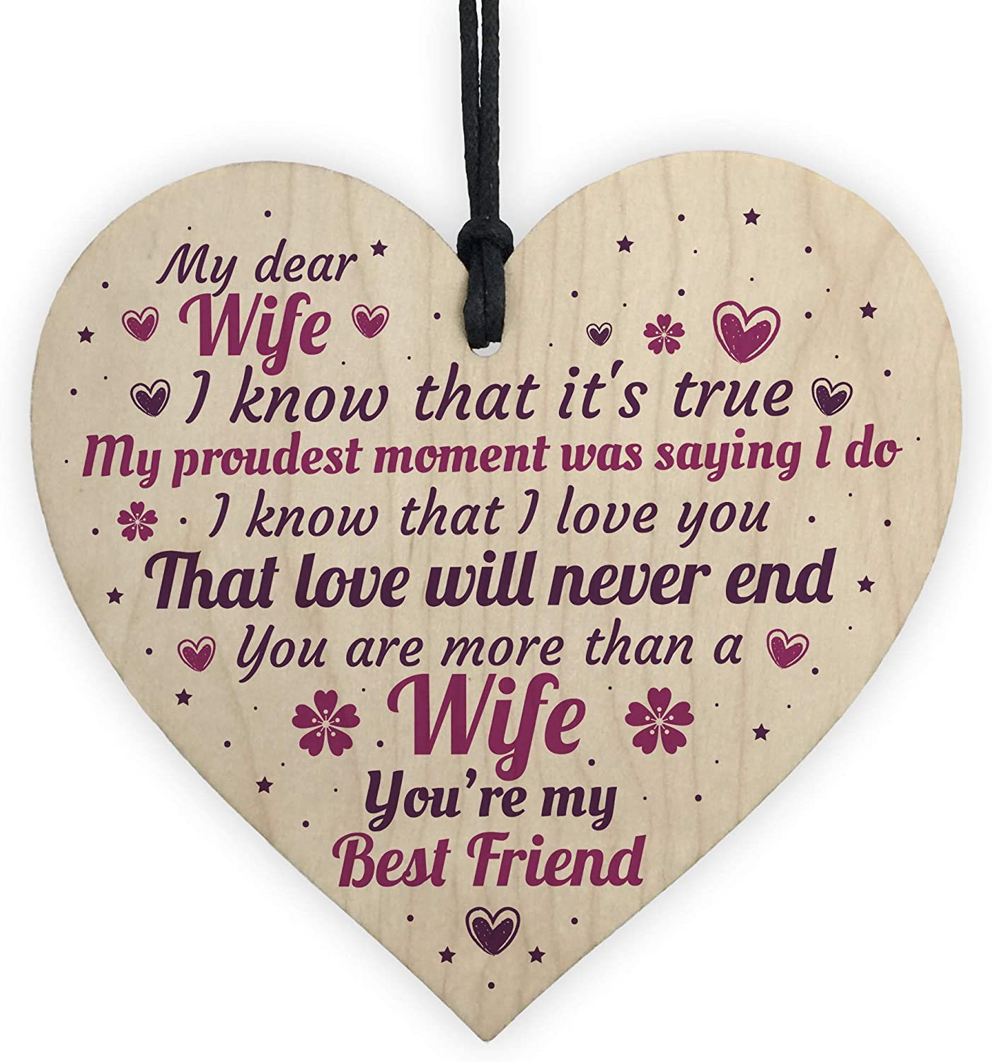 Red Ocean Anniversary Card Wife Gifts Him 1st 2nd 3rd 4th Wedding Idea Wooden Heart Keepsake Amazon Co Uk Kitchen Home