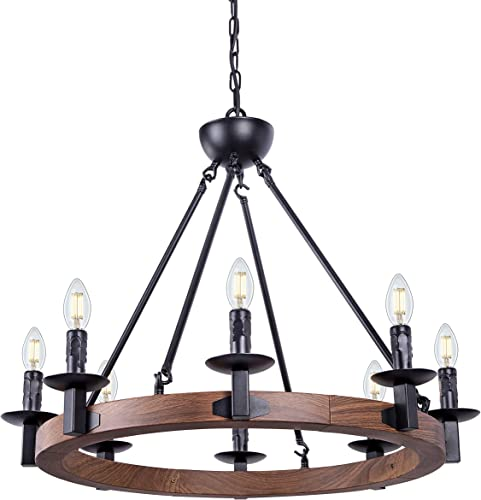 Wellmet 8 Lights Farmhouse Iron Chandelier