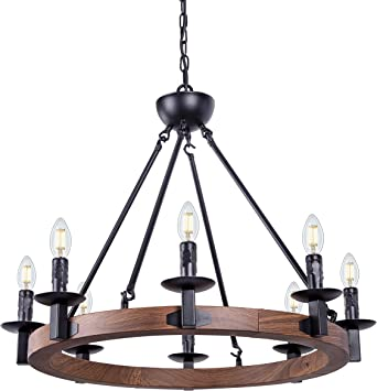 Wellmet 8 Lights Farmhouse Iron Chandeliers For Dining Rooms 28 Inch Wagon Wheel Chandelier Candle Style Rustic Hanging Ceiling Light Fixture Bedroom Living Room Foyer Hallway Faux Wood Finish Amazon Ca Tools