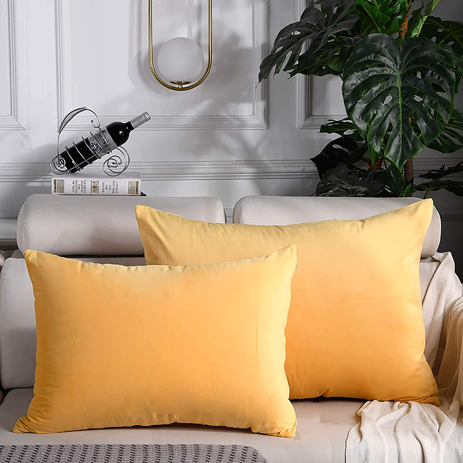 goodshop1988 Velvet Lumbar Pillow Covers 12x20 Inch Soft Throw Pillow Covers Solid Color Pillow Case Home Decor for Couch,Bed,Sofa,Bedroom,2 Pack,Camel