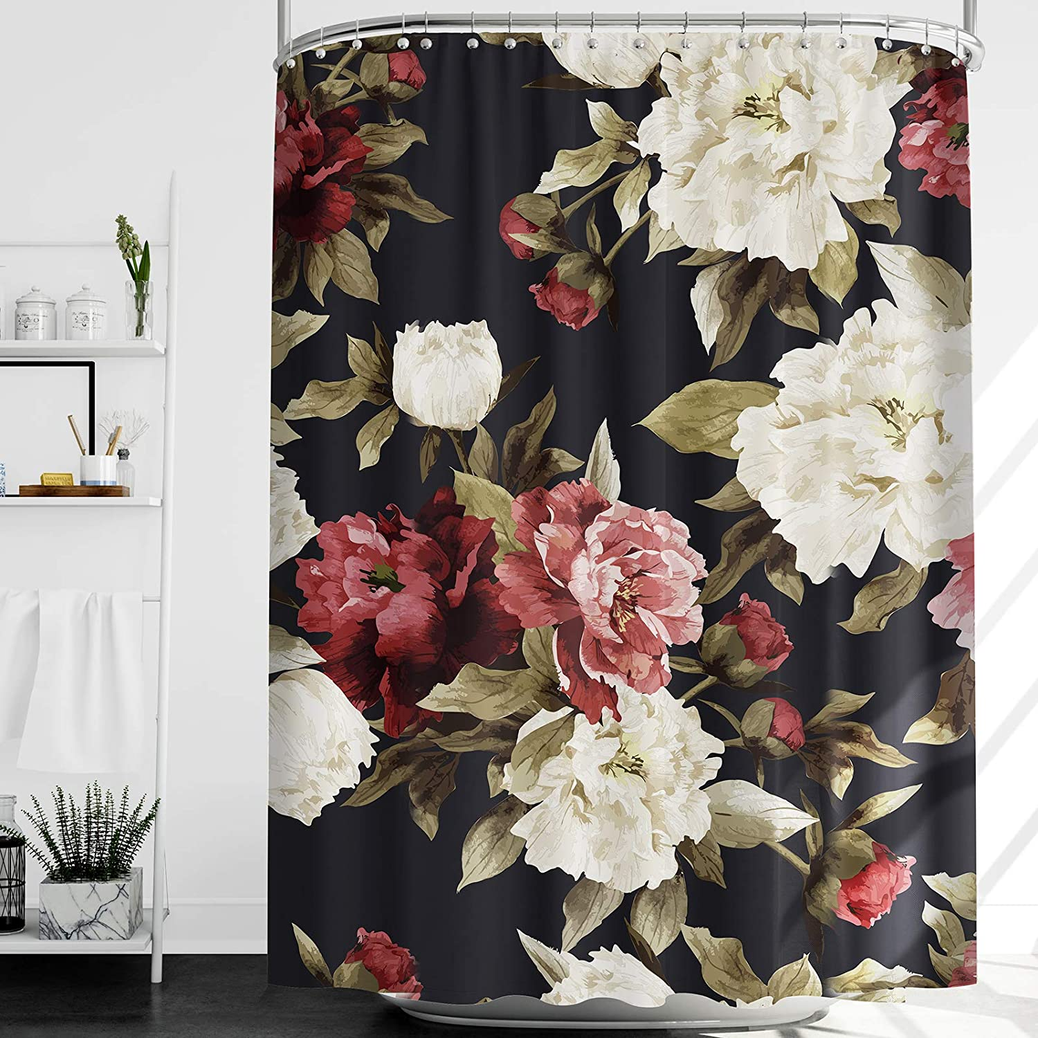 Riyidecor Watercolor Floral Shower Curtain Thicken Heavy Duty 12 Pack Metal Hooks Rustic Flowers Rose Girl Retro Leaves Blossom Peony Woman Weighted Hem Waterproof Fabric Bathroom Home 72x72 Inch