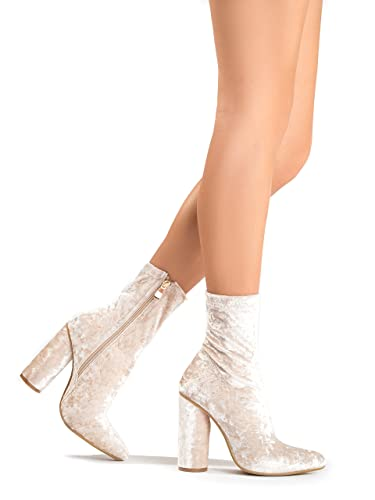 Crushed Velvet Ankle Bootie – Zipper High Heel Sock Boot – Trendy Pointed Toe Chunky Heel – Jay by