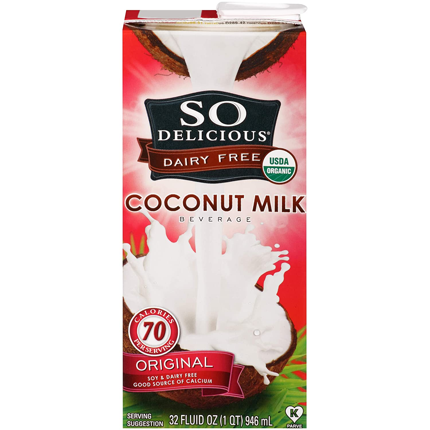 So Delicious Dairy-Free Organic Coconutmilk Beverage, Original, 32 Ounce (Pack of 6) Plant-Based Vegan Dairy Alternative, Great in Smoothies Protein Shakes or Cereal