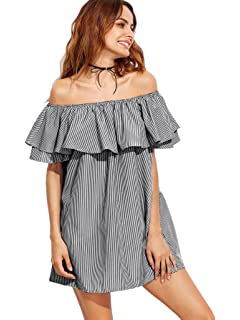 SheIn Womens Casual Off Shoulder Striped Ruffles Mini Dress