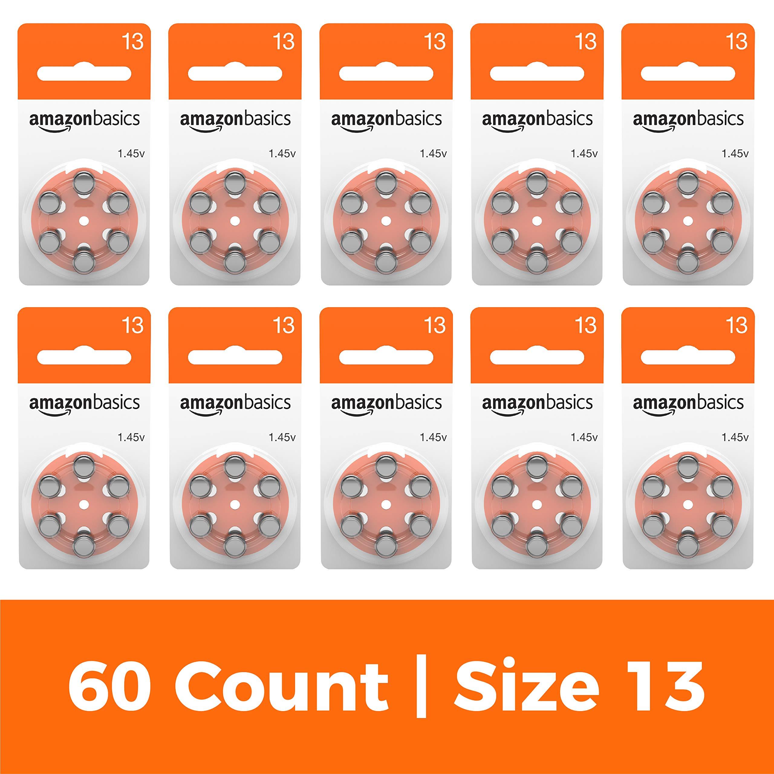 AmazonBasics Size 13 Hearing Aid Batteries, 60-Pack