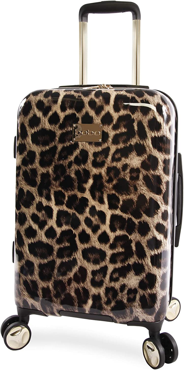 Bebe Women S Adriana 21 Hardside Carry On Spinner Luggage Leopard One Size Carry Ons